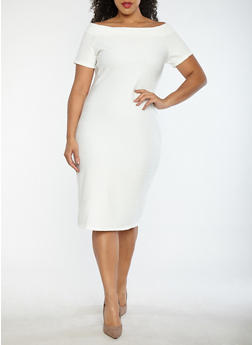 white plus size dresses plus size off the shoulder bandage dress - ivory - 1930069390203 hhkrrmc