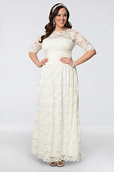 white plus size dresses short sheath casual wedding dress - kiyonna · kiyonna. lace illusion plus jvaxqoc