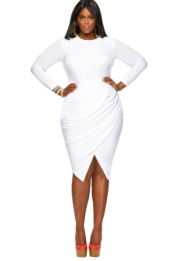 white plus size dresses womens plain round neck long sleeve slit plus size dress white - pink tpyfazs