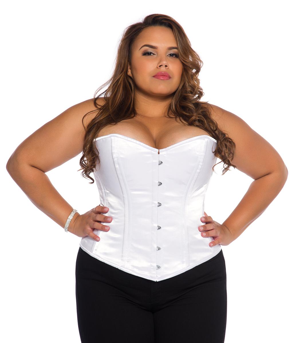 white satin plus size corset skzsrcm