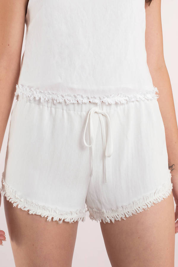 white shorts coconut white frayed drawstring shorts coconut white frayed drawstring  shorts ... bzqvqpm