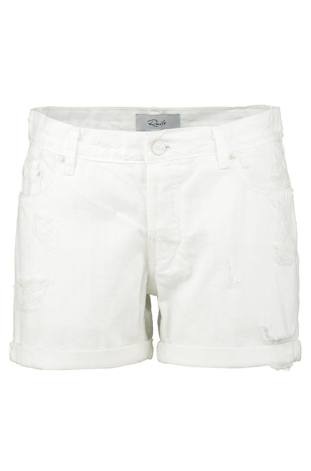 white shorts logan denim shorts in white image