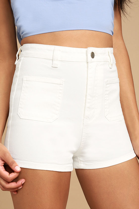 white shorts mink pink escape white high-waisted denim