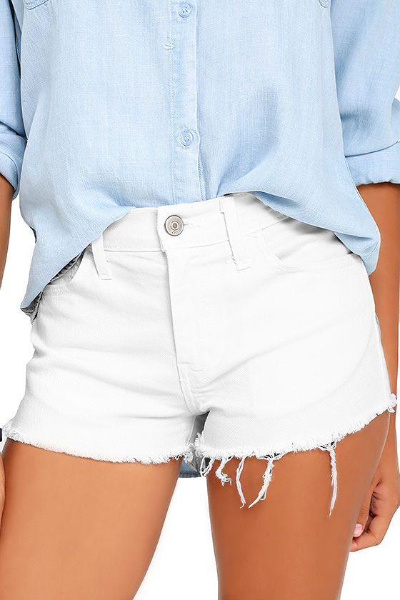 white shorts off-road white cutoff denim shorts 1