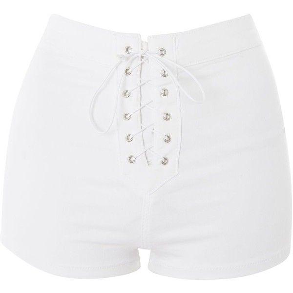 white shorts topshop moto lace up joni shorts ($37) ❤ liked on polyvore featuring shorts, feinrzs