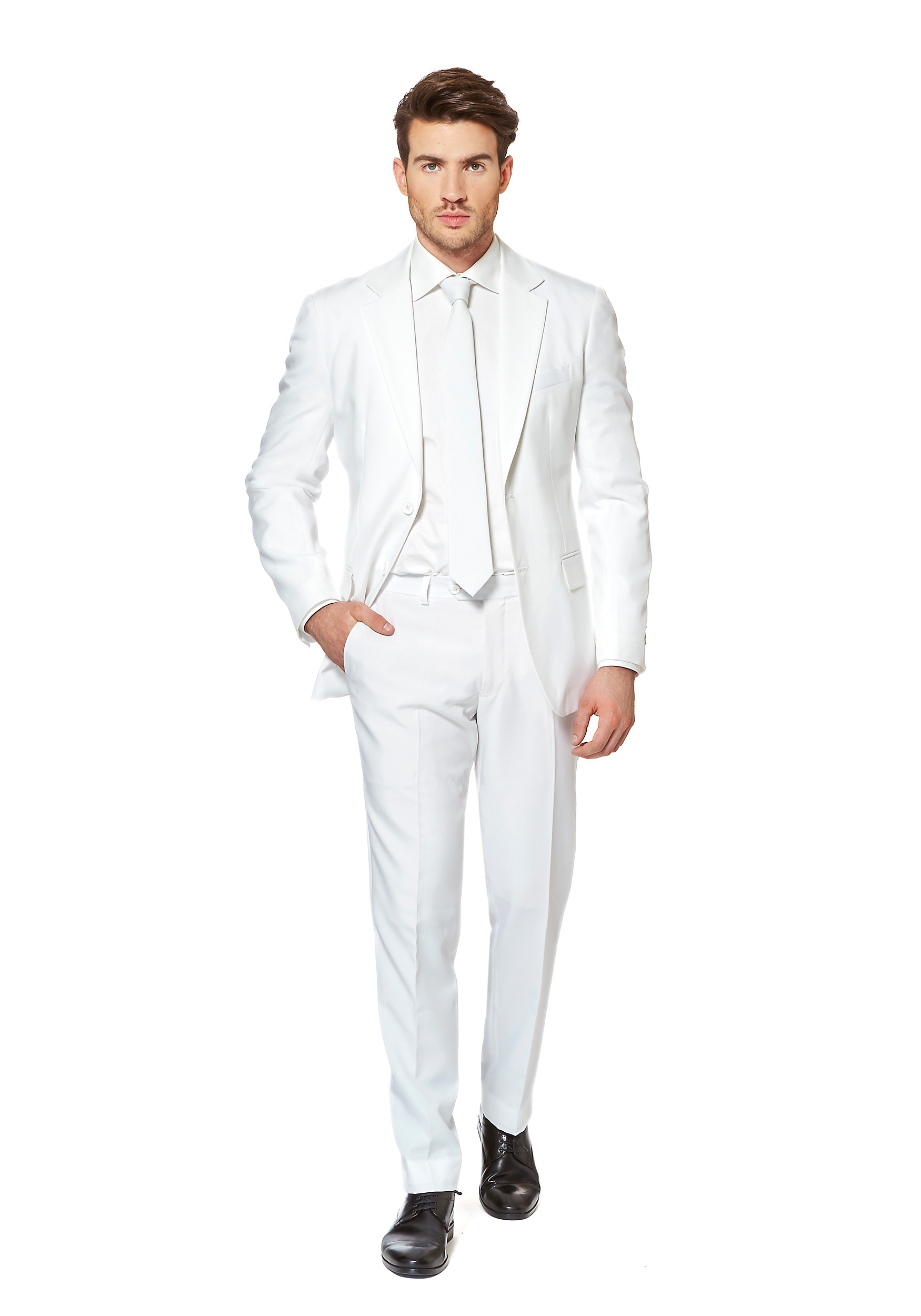 We have white suits with special clergy ties and pocket squares and even bow ties. We have paired up some of our navy suits with tie colors like white, red and burgundy. We carry regular cut suits as well as husky and slim so please check size charts on the suit you are interested it to make sure of the best fit.