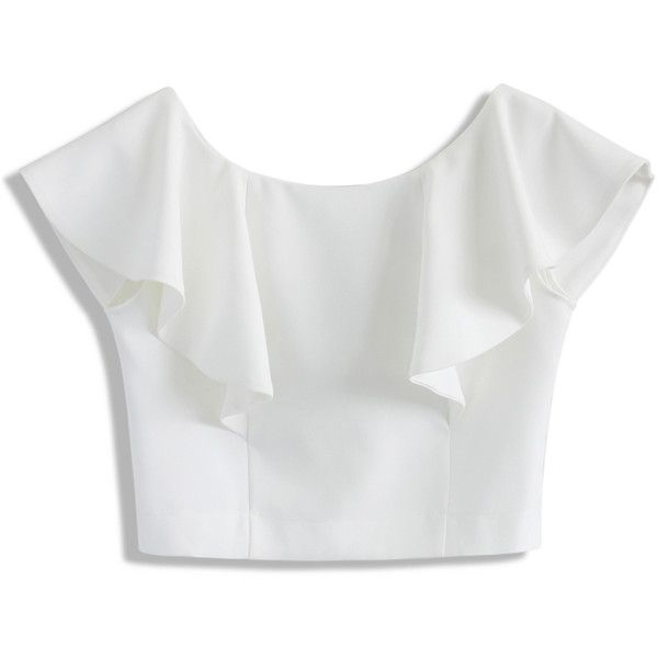 white tops chicwish drift in a frilling white cropped top found on polyvore pkyfifo