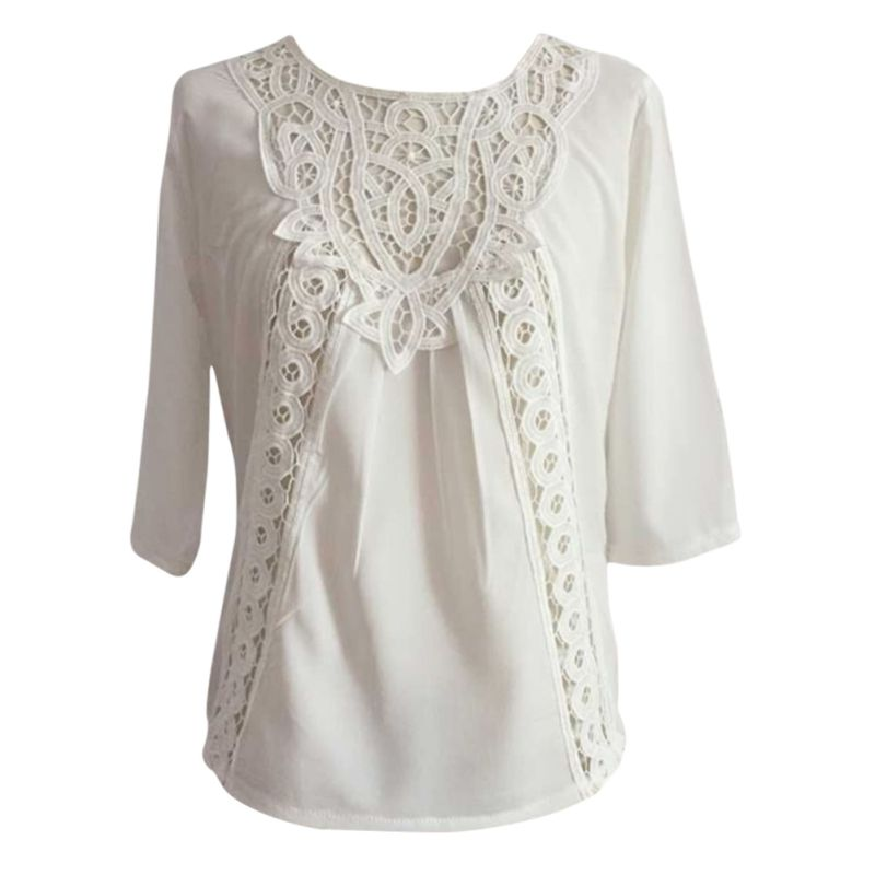 white tops fashion women loose blouse casual lace crochet chiffon 3/4 sleeve shirt tops-in dibhfam