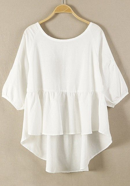 white tops white plain hem irregular loose cotton blend blouse vhxkpud