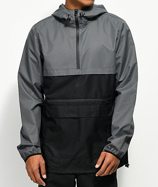 windbreaker jackets empyre camron charcoal u0026 black anorak windbreaker jacket ... btqgzba