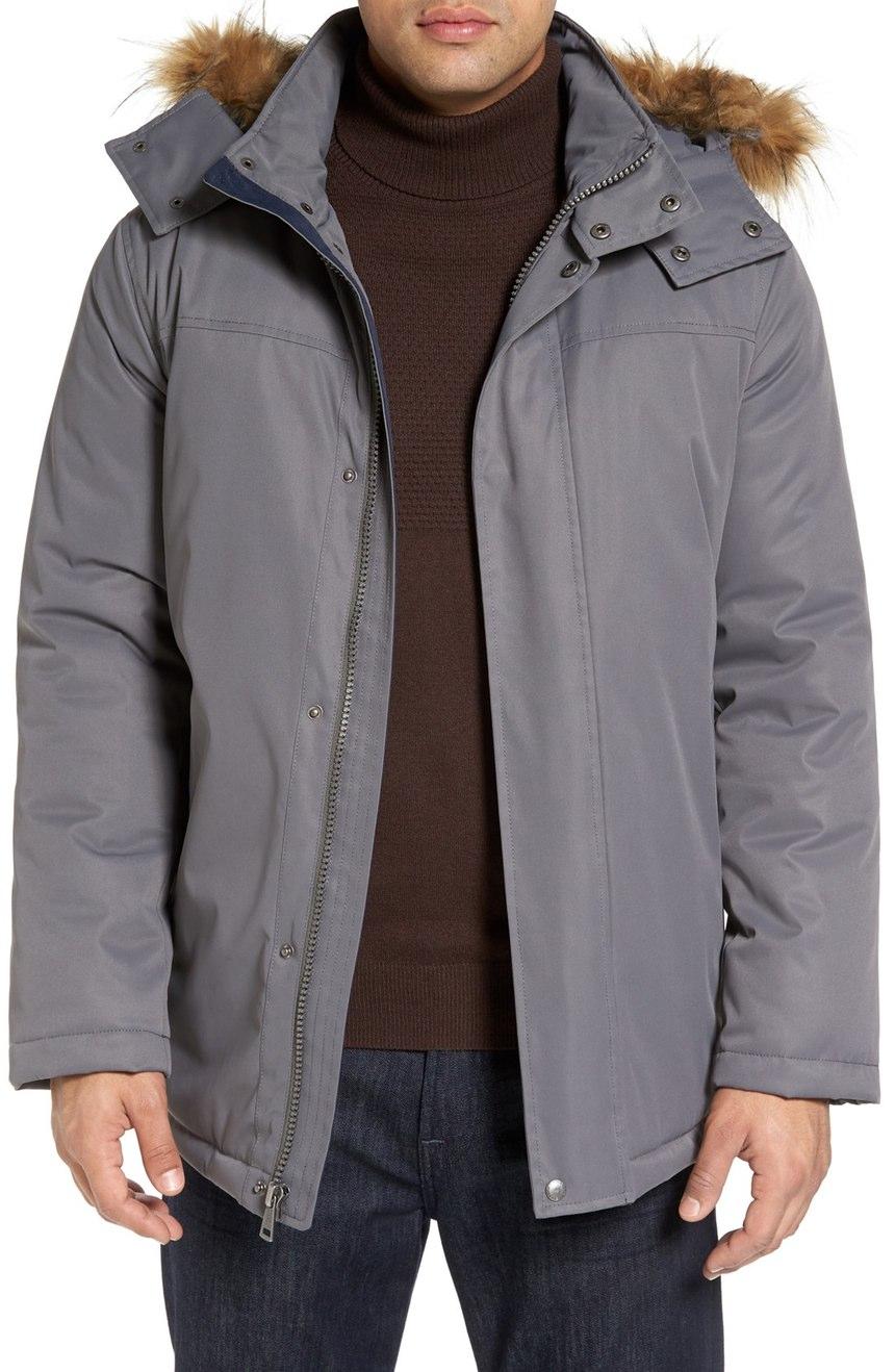 winter coats for men cole haan faux-fur trim water resistant winter coat in gray - buy it mrlkgpv