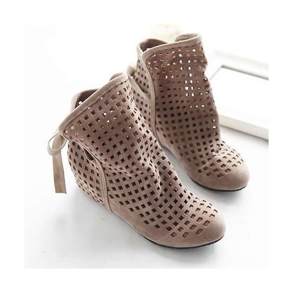 women summer boots flock flat shoes low hidden wedges zoarbyg