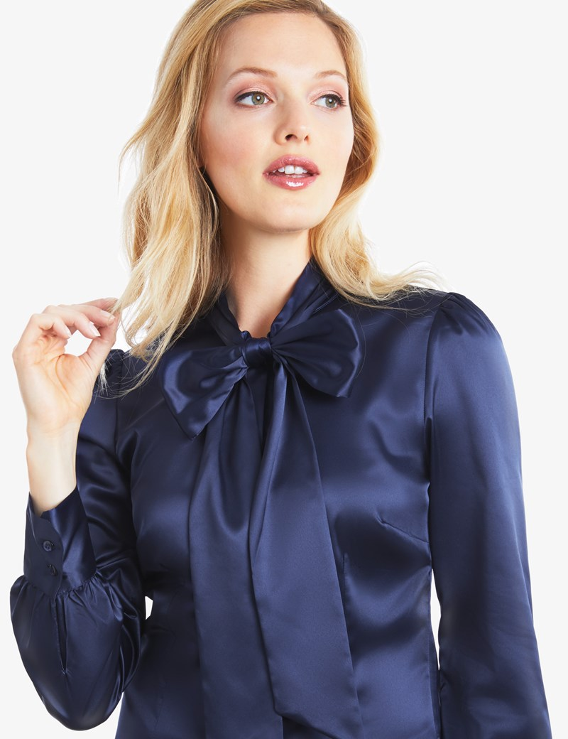 womenu0027s navy fitted luxury satin blouse - pussy bow aamjwtj