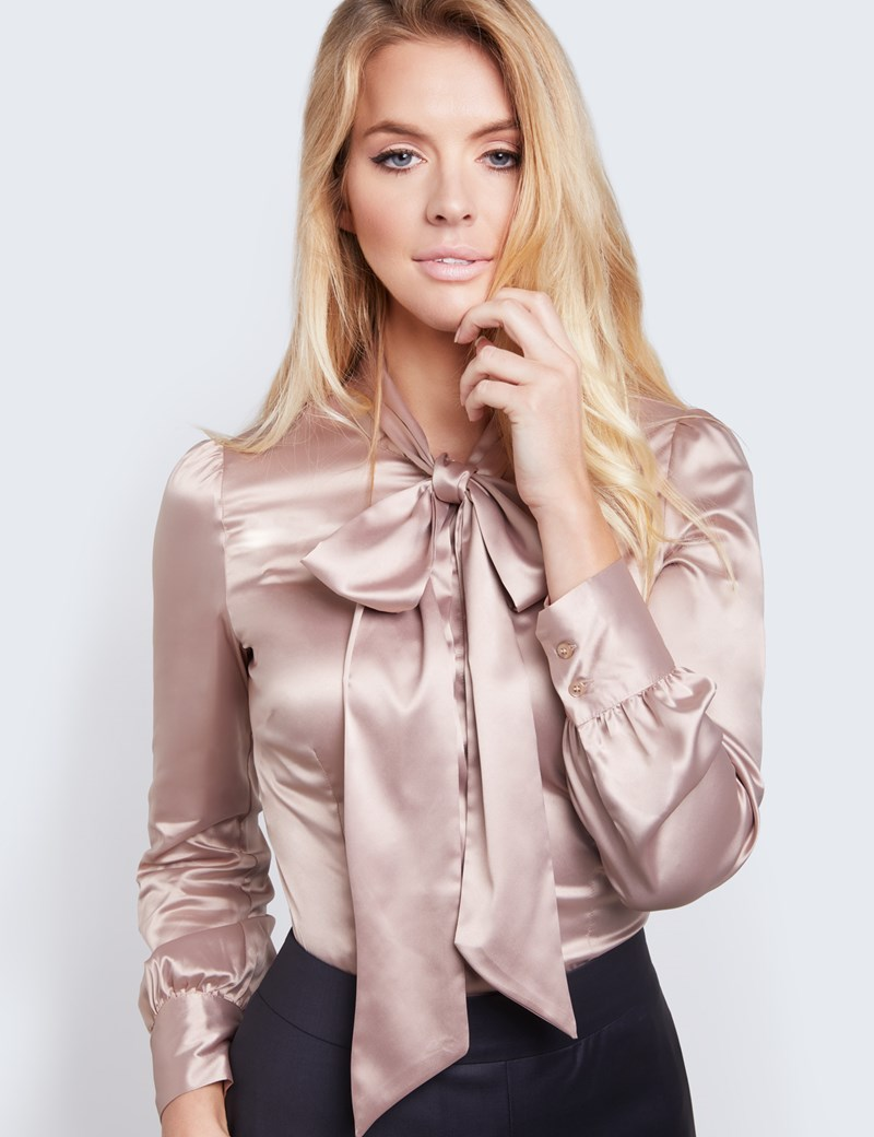 womenu0027s taupe fitted luxury satin blouse - pussy bow himlrvx