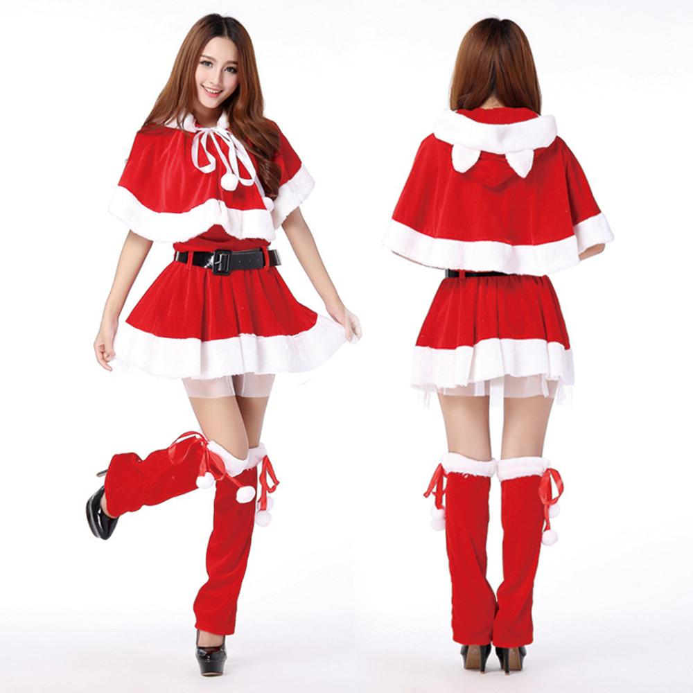 women voile lining christmas dresses velvet santa claus costumes xmas party  mini izxhaxm
