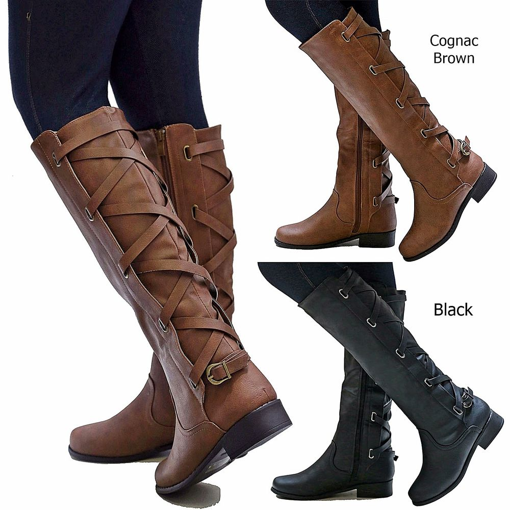 womens boots new women pch brown black buckle riding knee high cowboy boots 5.5 to ukorseo