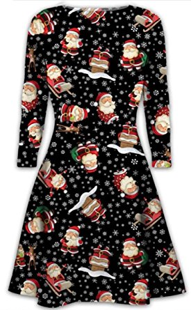 womens christmas dresses ladies long sleeve olaf santa novelty stocking  xmas swing jehrmxo