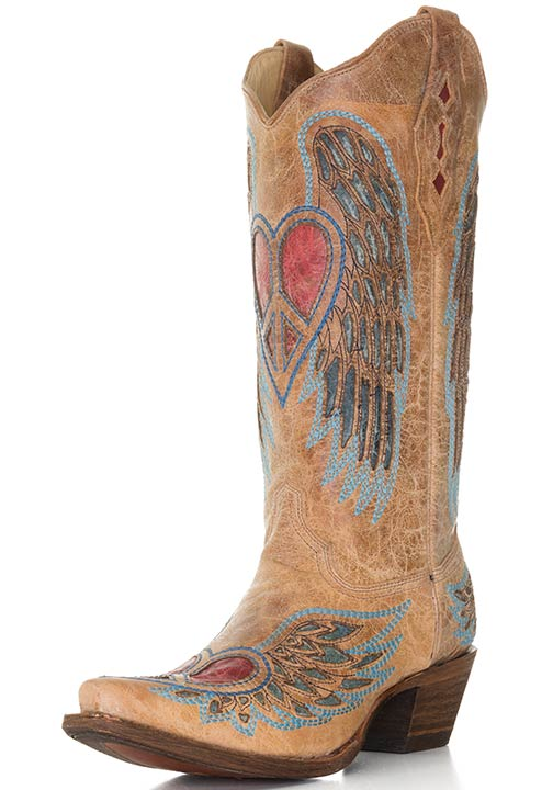 womens cowboy boots corral womenu0027s western boots with winged peace hearts - saddle/blue/red dahmdjl