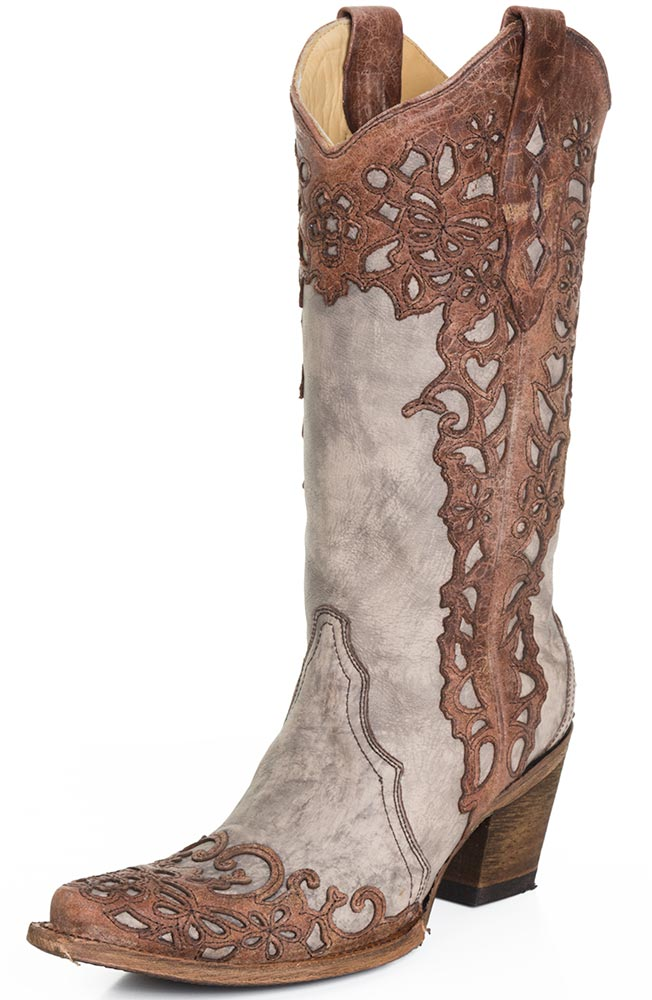womens cowboy boots corral womens laser overlay cowboy boots - cognac/sand fhytrit