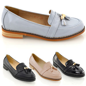 womens loafers image is loading womens-loafers-flat-black-tassel-ladies-casual-work- dlwklxo