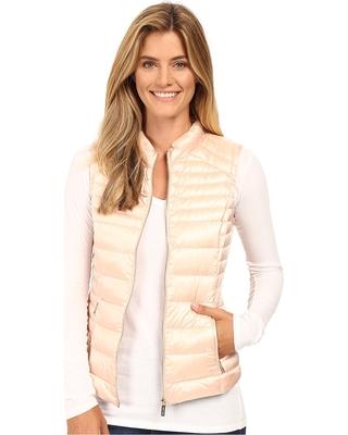 womens puffer vest calvin klein - metallic puffer vest (pearlized blush) womenu0027s vest sxudtua