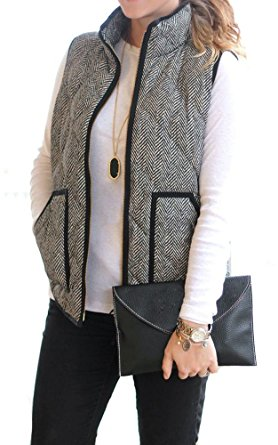 womens puffer vest merokeety womens slim fall quilted herringbone puffer vest with zipper xs  black/white hzypaod