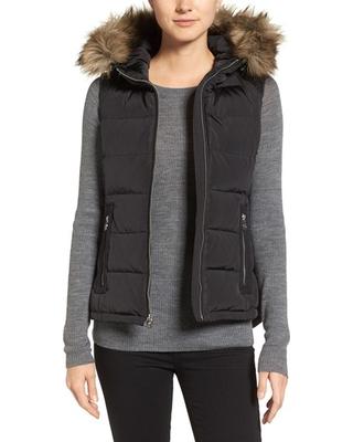 womens puffer vest womenu0027s michael michael kors hooded puffer vest with faux fur trim, size jhysgcq