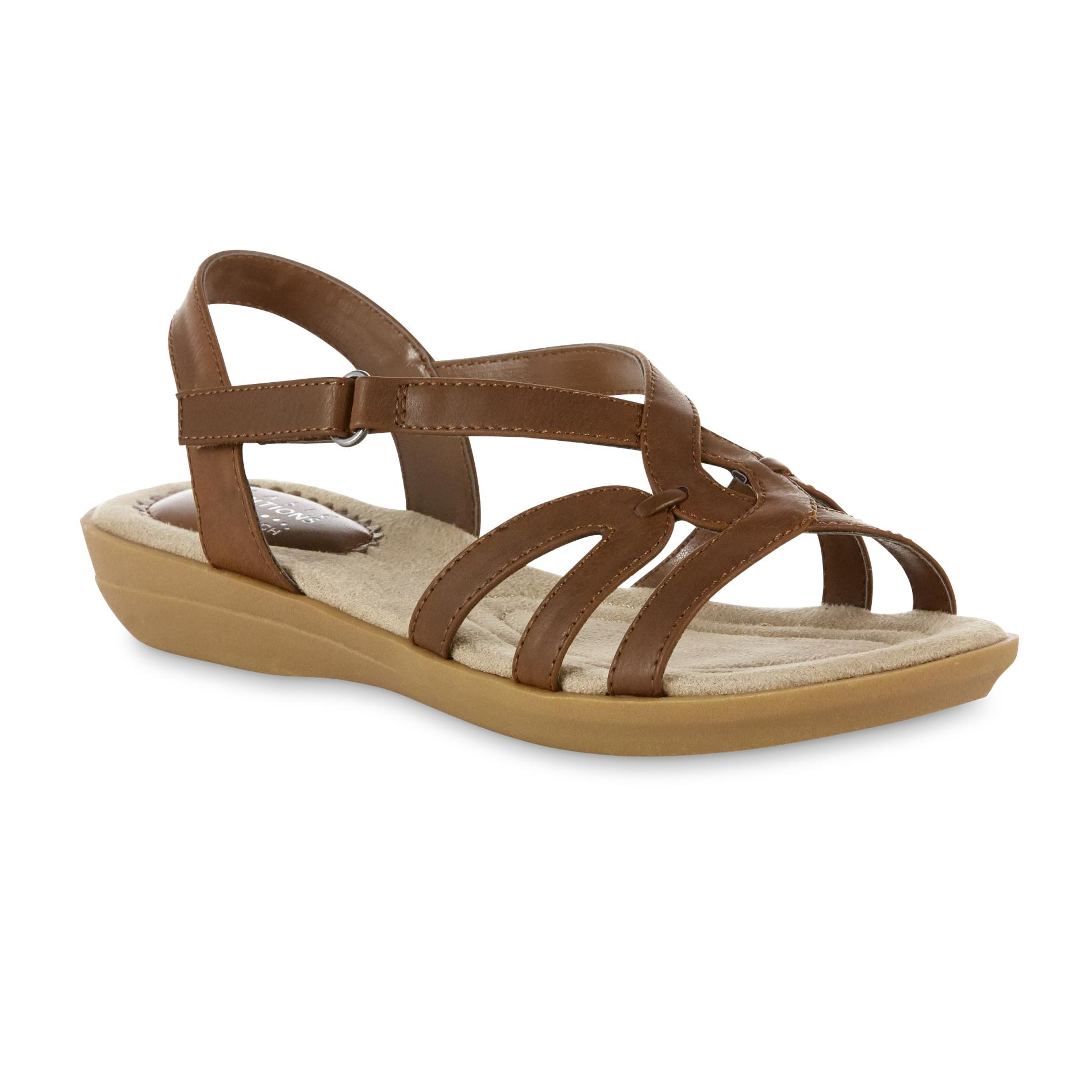 womens sandals basic editions womenu0027s mikayla wide sling-back sandal - brown wlczpvx