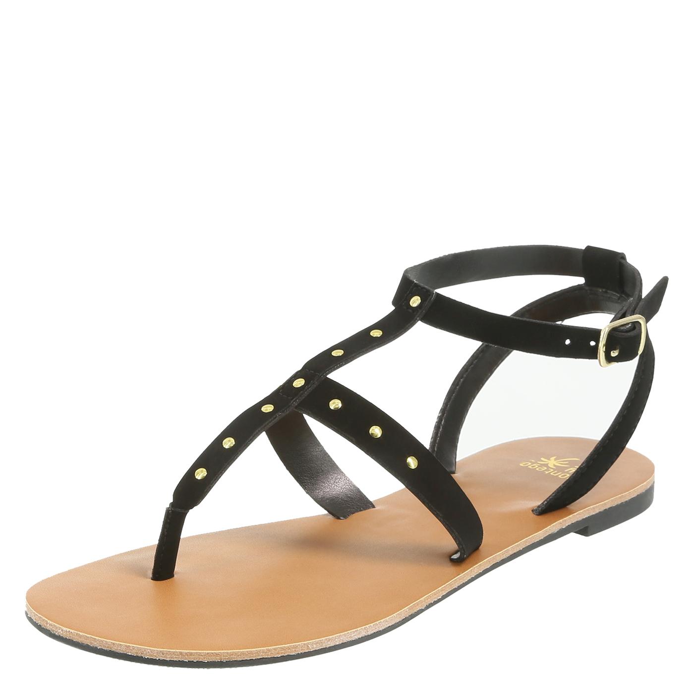 womens sandals womenu0027s ruben studded flat sandal, black, hi-res zydcjac
