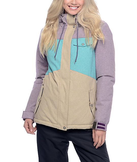 womens snowboarding jackets aperture heaven blackberry, teal u0026 khaki 10k womens snowboard jacket ... pohmbwm