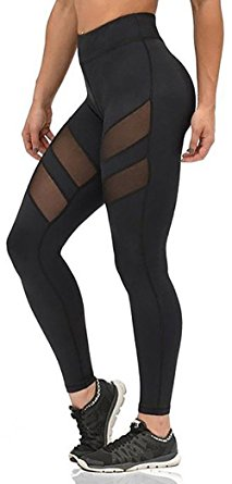 workout leggings nulibenna womenu0027s mesh stretchy workout sportys yoga leggings ninth pants,black  1,small cdcrhzi