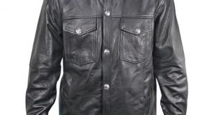 xelement xs908b menu0027s black leather shirt with buffalo buttons -  leatherup.com sxlcolv