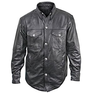 xelement xs908b mens black leather shirt with buffalo buttons - large nsvaswb