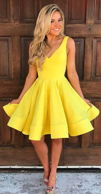 yellow dress cute homecoming dresses,v neck homecoming dresses,yellow homecoming dress,sleeveless  homecoming dresses nxjbedc