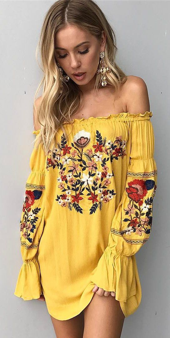 yellow dress #spring #outfits yellow floral off the shoulder dress tnejdlg