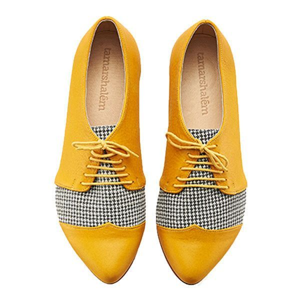 yellow shoes sapato amarelo winter yellow pepita oxford shoes polly jean handmade flats  leather... lstouoq