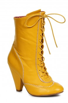 yellow shoes sexy yellow front lace up chunky heel booties faux leather vsbsoig