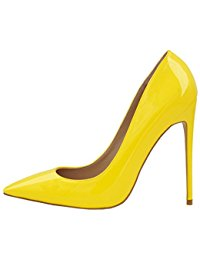 yellow shoes womens pointed toe high heel slip on stiletto pumps wedding party basic cpanbmj