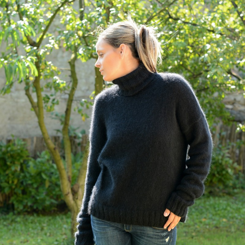 ... 2 strands hand knit 100% pure angora sweater black fuzzy turtleneck exdajdu