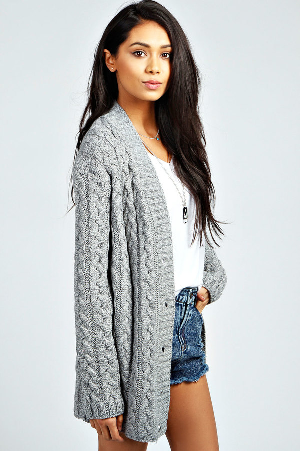 ... boohoo lucy cable knit cardigan ... vxmyewf