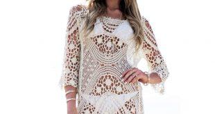 ... crochet cover up swimsuit knit beach dress ... ekfkscd
