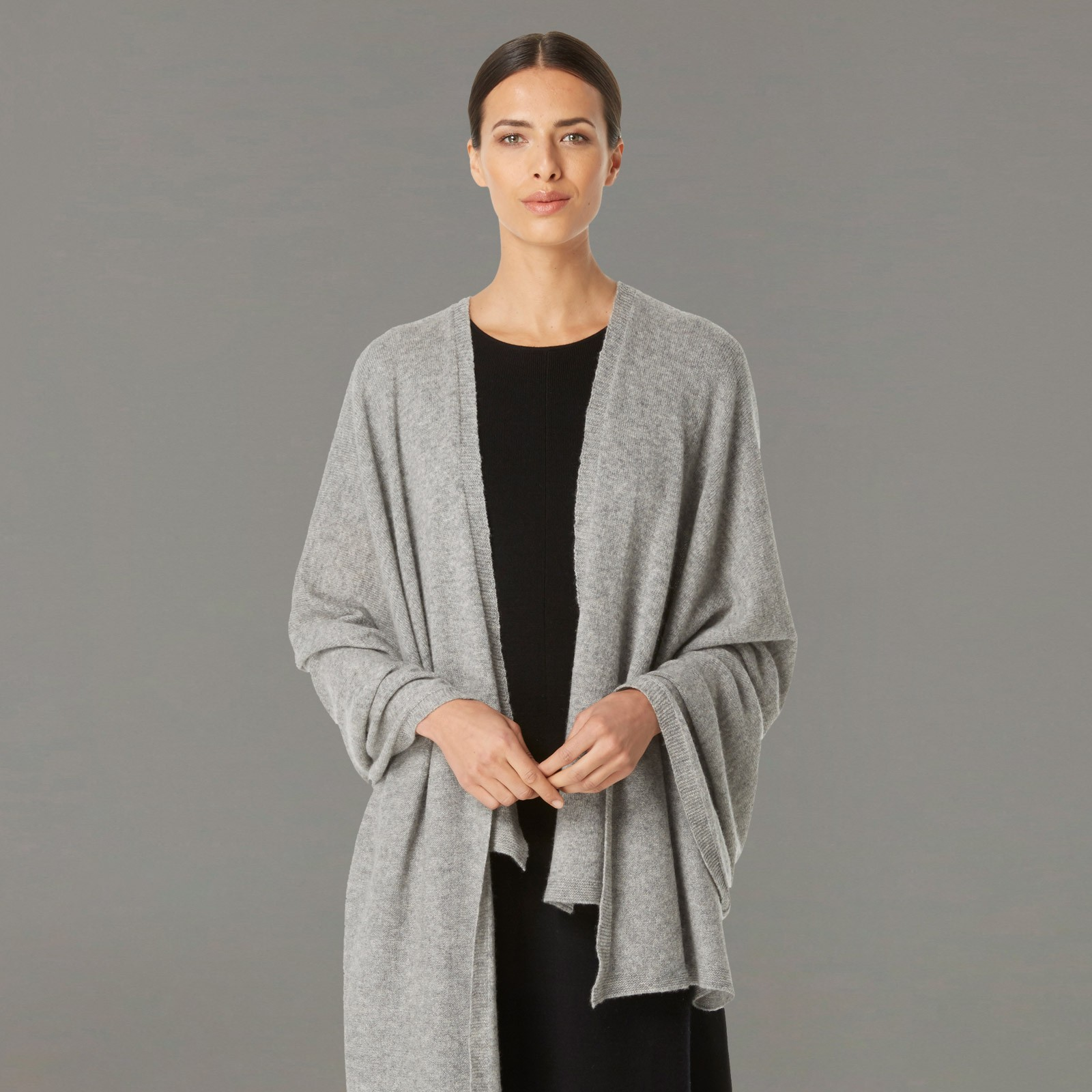 ... dark silver cashmere wrap front view ... frbmvzg