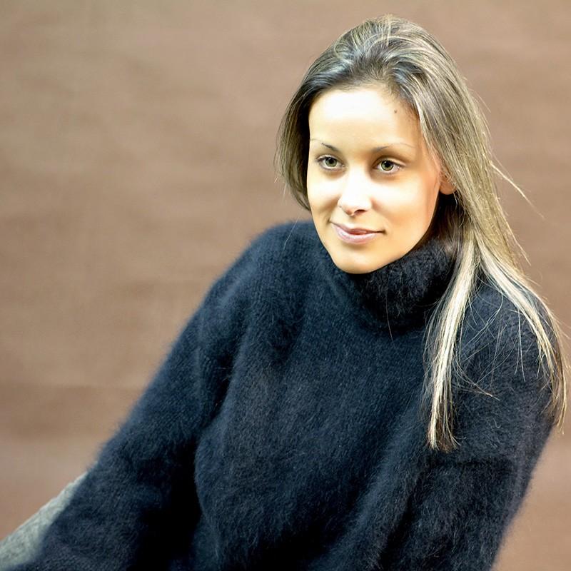 ... hand knit 100% pure angora sweater black fuzzy turtleneck  handgestrickte pullover zlggmzq