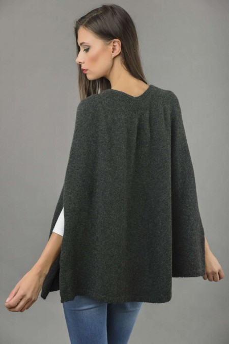 ... pure cashmere plain knitted poncho cape in charcoal grey 4 ... hhngqxt