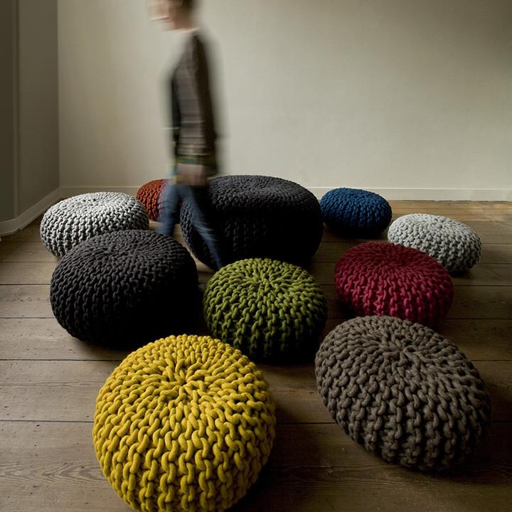 ... urchin chunky knitted pouf - grey wborntl