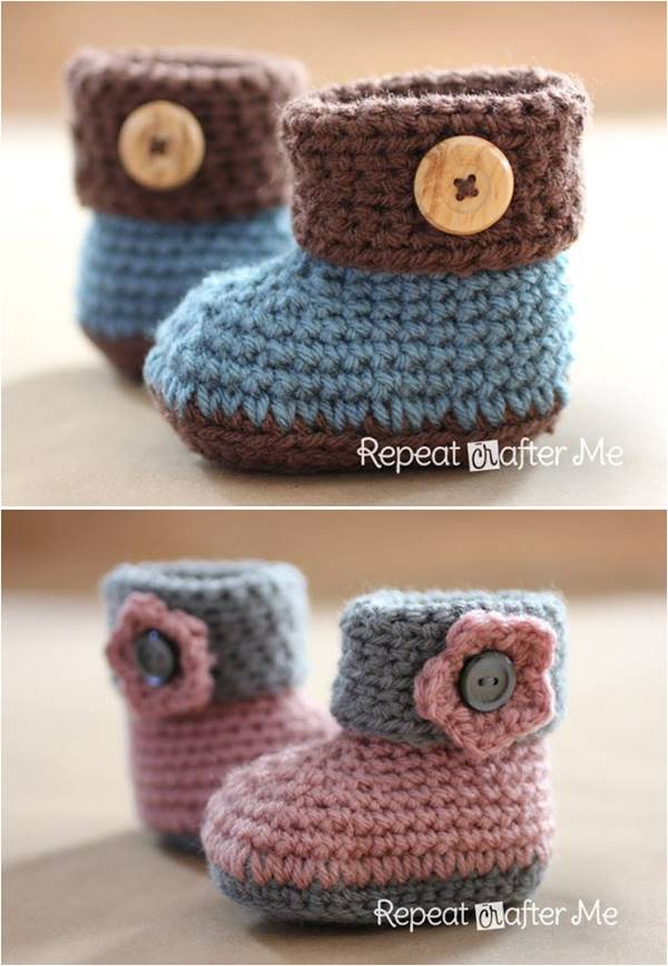 40+ adorable and free crochet baby booties patterns --u003e crochet cuffed baby vinbcqo