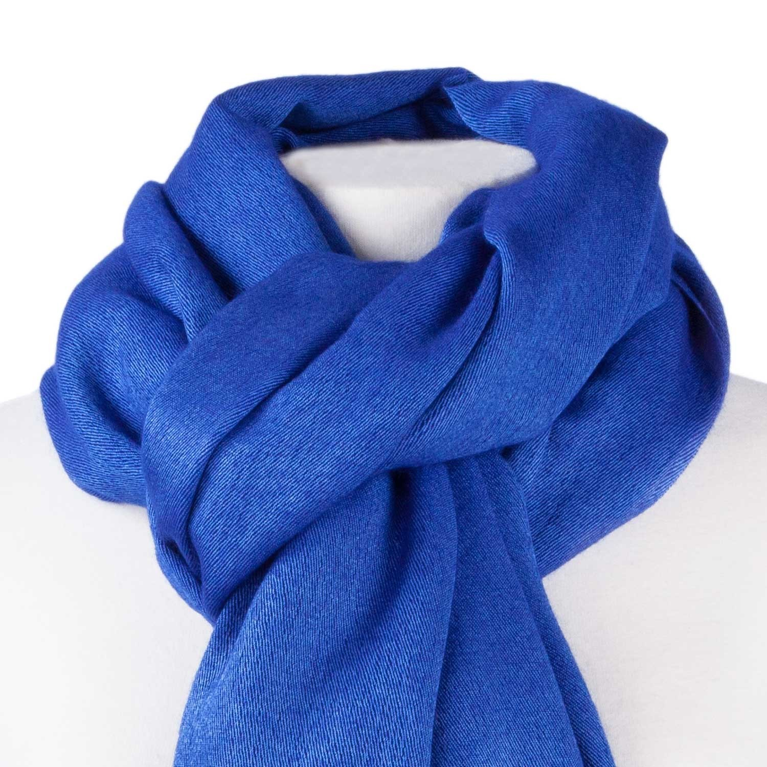 50% silk 50% cashmere pashmina close up of fabric ( lapis colourway)50% uwyrdya
