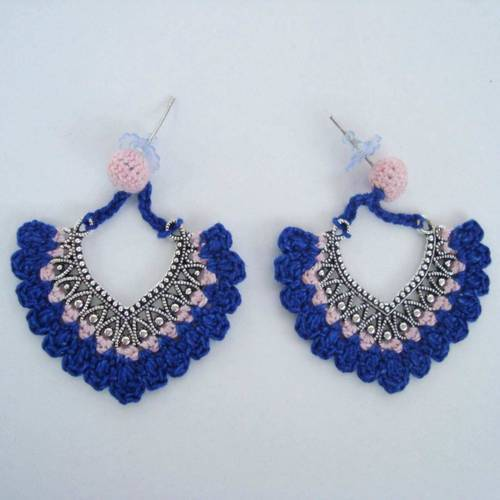 angelfish handcrafted blue crochet earrings handmade stud eiorcjm