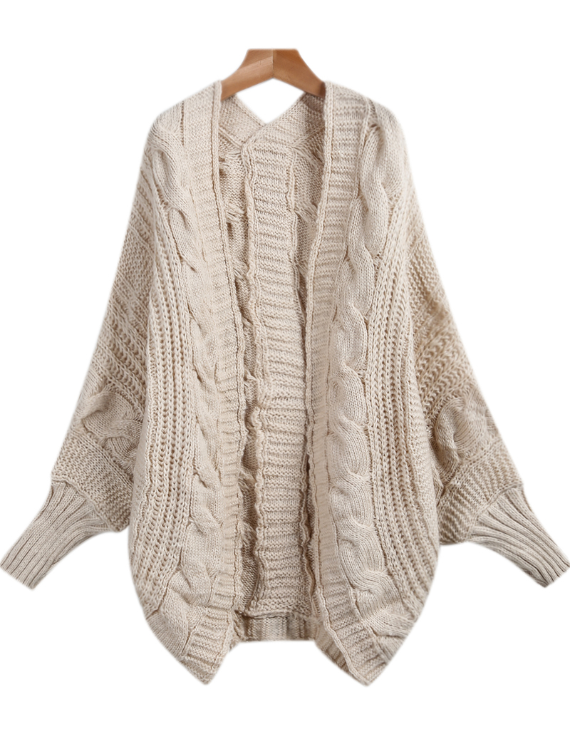 apricot long sleeve loose cable knit cardigan -shein(sheinside)