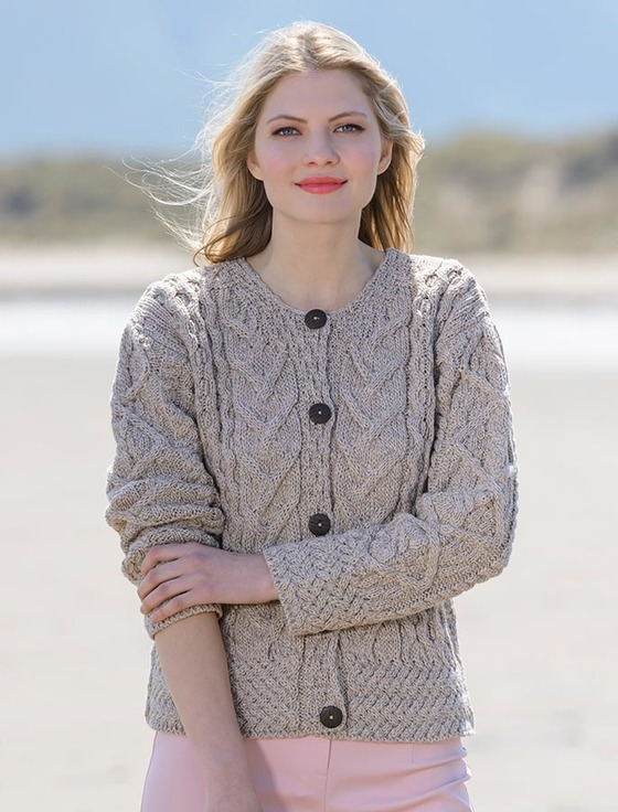 aran cable knit cardigan - wicker iwpnooc
